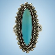 Vintage Fred Harvey Era Sterling and Turquoise Ring Size 5 1/2 Stamp Decorated Shank Southwestern