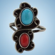 Vintage Navajo Turquoise Coral Pinky Ring Size 4 1/2 Artist Signed JH Handmade