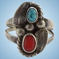Vintage 1970s Sarah Watson Navajo S. Watson Turquoise and Coral Ring Size 6 3/4 Hallmarked