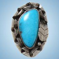 Vintage Native American Turquoise Ring Size 6 3/4 Sterling Silver Chisel Split Shank