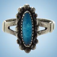 Vintage Bell Trading Post Native American Turquoise Ring Size 6 3/4 Signed Sterling