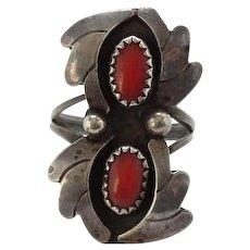 Vintage Southwestern Navajo Double Coral Sterling Silver Shadowbox Ring Size 6 Chisel Split Shank