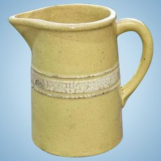 RARE Brush McCoy Dandy Line Yellow Ware Yelloware Yellowware White Banded Pitcher Straight Sides 6 Inch