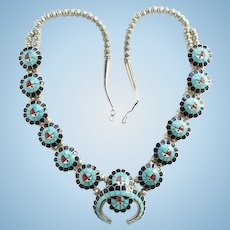 Vintage Zuni Burdian Soseeah Turquoise Sunface Squash Blossom Necklace Signed