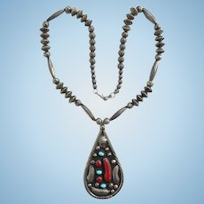 Vintage Navajo R. H. Long Superb Beadwork Pendant Necklace Turquoise Red Coral Sterling Silver Signed
