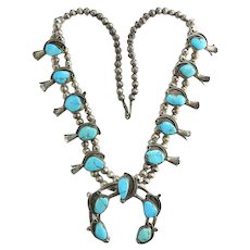 Old Navajo Classic Sterling Silver and Turquoise Squash Blossom Naja Necklace Native American
