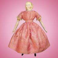 Antique Alice Hairdo Parian Child Doll Original Body Turned Head Pink Stripe Dress 14.75 Inch