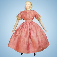 Antique Alice Hairdo Parian Child Doll Original Body Turned Head Pink Stripe Dress 14.75 Inch