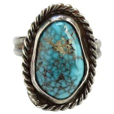 Vintage Native American Turquoise Ring Size 6.5 Spider Web Quartz Matrix