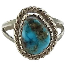 Vintage Navajo Pinky Ring Size 5 Morenci Turquoise and Sterling Silver Native American