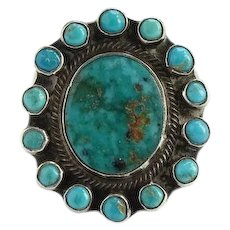 Native American Turquoise Satellite Snake Eye Pinky Ring Size 3.5 Sterling Silver