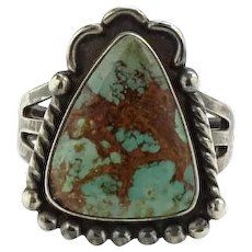 Vintage Native American Turquoise Ring Size 6.25 Triangular Stone Hallmarked Sterling