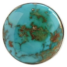 Native American Round Turquoise Ring Size 8.75 Beautiful Stone Sterling Silver
