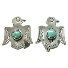 Native American Turquoise Thunderbird Screw Back Earrings Marked Sterling
