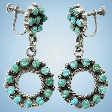 Native American Carved Turquoise Dangle Screw Back Hoop Cluster Earrings Marked Sterling