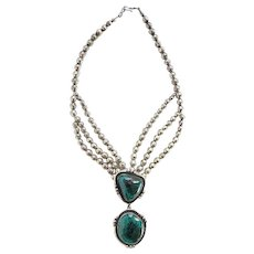 Vintage Scott Dave Navajo Chrysocolla Pendant Necklace Signed SD Sterling Silver Seamed Beads Native American