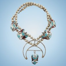 Vintage Zuni Peyote Water Bird Squash Blossom Necklace Turquoise Coral Chips Signed JL Sterling Silver Beads