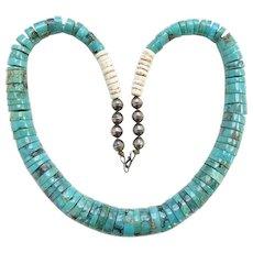 Vintage Santo Domingo Pueblo Graduated Turquoise Heishi Shell Choker Necklace Sterling Beads
