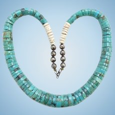 Vintage Santo Domingo Pueblo Graduated Turquoise Heishi Shell Choker Necklace Sterling Beads