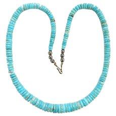 Vintage Santo Domingo Pueblo Graduated Rolled Turquoise Heishi Bead Necklace 20 Inch Native American