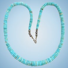 Vintage Santo Domingo Pueblo Graduated Rolled Turquoise Heishi Bead Necklace 20 Inch Native American