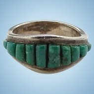Vintage Southwestern Graduated Green Turquoise Inlay Stacking Ring Size 6 1/2 Sterling Silver