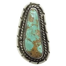 Vintage Large Navajo Natural Turquoise and Sterling Silver Ring Size 6 3/4 Native American