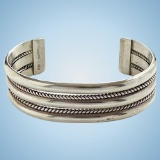 Vintage Navajo Fred Maloney Heavy Sterling Cuff Bracelet 52 Grams Signed FM