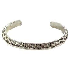 Vintage Native American RH Randy Hoskie Navajo Heavy Sterling Silver Carinated Cuff Bracelet 1990s
