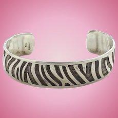 Vintage Hopi 925 Sterling Silver Cut Out Overlay Cuff Bracelet Textured Chisel Marks