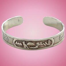 Vintage Silver Overlay Cuff Bracelet Egypt Egyptian Hieroglyphics in Cartouche Tourist Bracelet Jewelry Boho Style Hallmarked