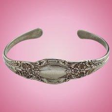 Vintage Lunt Sterling Silver Spoon Bracelet No Monogram Signed Floral Design