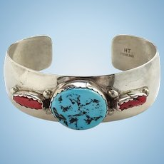 Vintage Native American Signed HT Sterling Turquoise Coral Cuff Bracelet