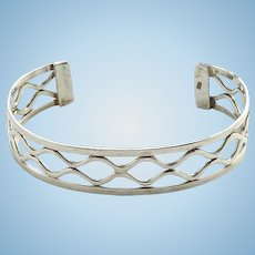 Vintage 925 Sterling Silver Modernist Style Stacking Cuff Bracelet Open Work Design