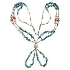 Vintage Southwestern Two Strand Necklace Morenci Turquoise Nugget Natural Coral Bead Silver Gorgeous