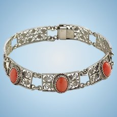 Old Art Deco Coral Filigree Link Bracelet 800 Silver
