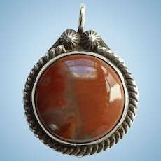 Old Southwestern Petrified Wood Necklace Pendant Sterling Silver with Punched Buttons
