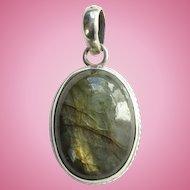 Vintage Labradorite Gemstone and 925 Sterling Silver Oval Necklace Pendant