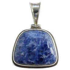 Vintage Blue Sodalite Gemstone 925 Sterling Silver Necklace Pendant