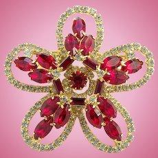 Vintage Ruby Red Rhinestone Pin Brooch Tiered Flower Petal Design Goldtone Setting
