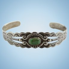 Fred Harvey Vintage Silver Arrow Sterling and Turquoise Cuff Bracelet 1940s