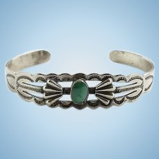 Fred Harvey Southwestern Vintage Turquoise Cuff Bracelet Stamp Decorated Sterling Silver