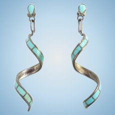 Vintage Native America Turquoise and Sterling Silver Inlay Spiral Pierced Earrings Gorgeous