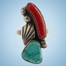 Vintage Navajo Turquoise and Branch Coral Ring Size 8 1/4 Sterling Silver
