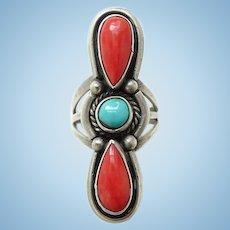 Vintage Navajo Coral and Turquoise Gorgeous Ring Size 6 Sterling Silver