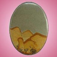 Vintage Southwestern Landscape Picture Jasper Oval Necklace Pendant Sterling Silver