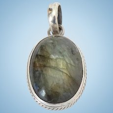 Vintage Large Labradorite Pendant Necklace Sterling Silver and Chain