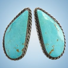 Large Southwestern Native American Vintage Turquoise Pierced Earrings Hallmarked Sterling Gorgeous Stone