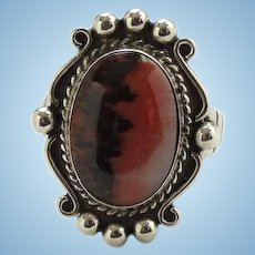 Bell Trading Post Vintage Petrified Wood Sterling Ring Size 7 1/4 Fred Harvey Jewelry