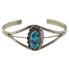 Native American Vintage Turquoise Cuff Bracelet with Feather Hallmarked Sterling